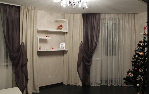 дизайн гостиной с двумя