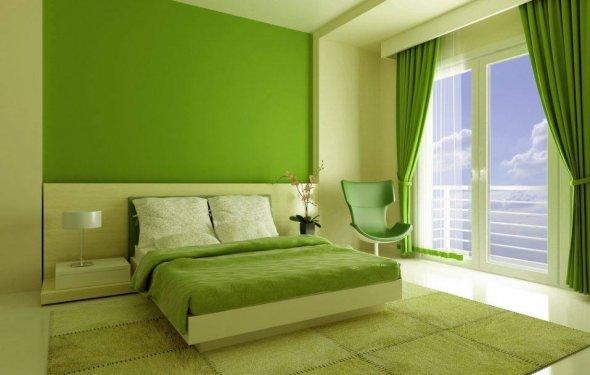 зеленые шторы: в спальню